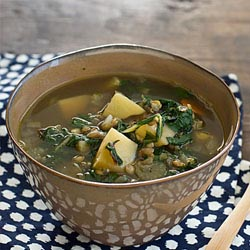 chard lentil potato slow cooker soup