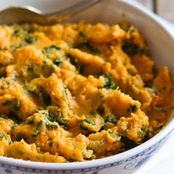 kale feta mashed sweet potato
