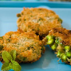 panko crusted pea fritters