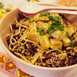red cabbage tofu salad