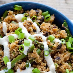 spicy quinoa black bean asparagus